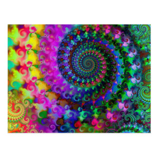 Hippy Rainbow Fractal Pattern Post Cards