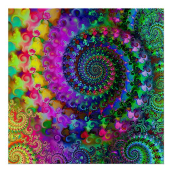 Hippy Rainbow Fractal Pattern Poster
