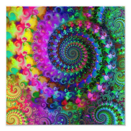 Hippy Rainbow Fractal Pattern Poster Photo Print