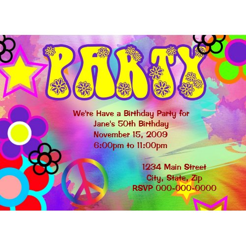 Hippy rainbow Retro birthday party invitation zazzle_invitation