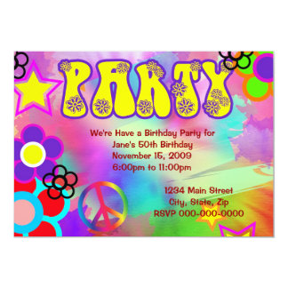 Hippy rainbow Retro birthday party invitation