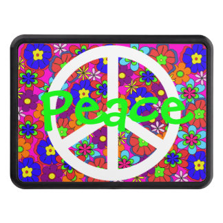 Hippy Retro Flowers Green Peace Hitch Cover