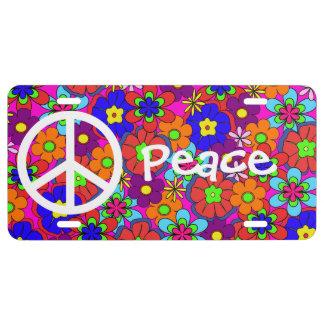 Hippy Retro Flowers Peace License Plate