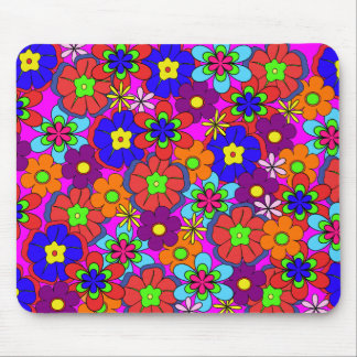 Hippy Retro Funkadelic Flowers Mouse Pad