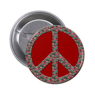 Hippy, Retro Peace Symbol - No More War Theme Pinback Button