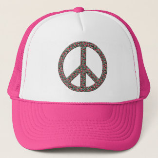 Hippy, Retro Peace Symbol - No More War Theme Trucker Hat