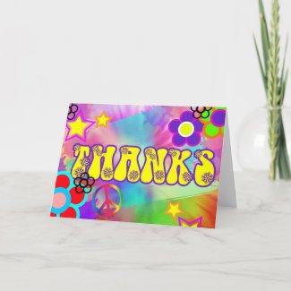 Hippy Retro rainbow thankyou card zazzle_card