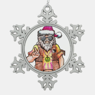 "Hippy Santa says ""Cool Yule"" Snowflake Pewter Christmas Ornament"