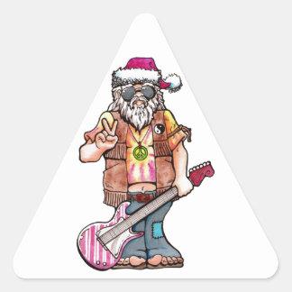 "Hippy Santa says ""Cool Yule"" Triangle Sticker"