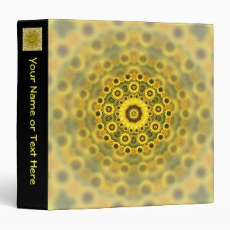 Hippy Sunflower Fractal Mandala Pattern 3 Ring Binder