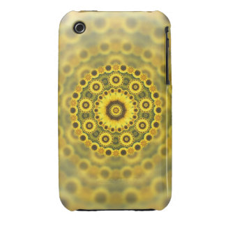 Hippy Sunflower Fractal Mandala Pattern Case-Mate iPhone 3 Cases
