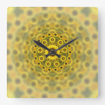 Hippy Sunflower Fractal Mandala Pattern Square Wall Clock