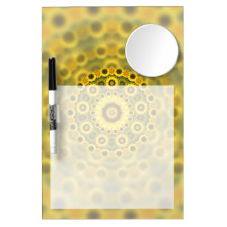Hippy Sunflower Fractal Mandala Pattern Dry Erase Board With Mirror