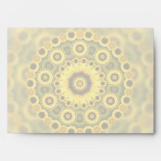 Hippy Sunflower Fractal Mandala Pattern Envelopes