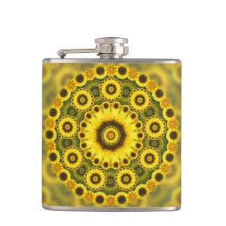 Hippy Sunflower Fractal Mandala Pattern Flask