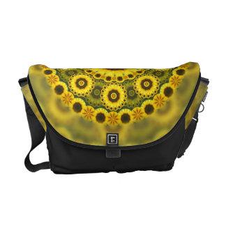 Hippy Sunflower Fractal Mandala Pattern Messenger Bags