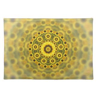 Hippy Sunflower Fractal Mandala Pattern Placemat