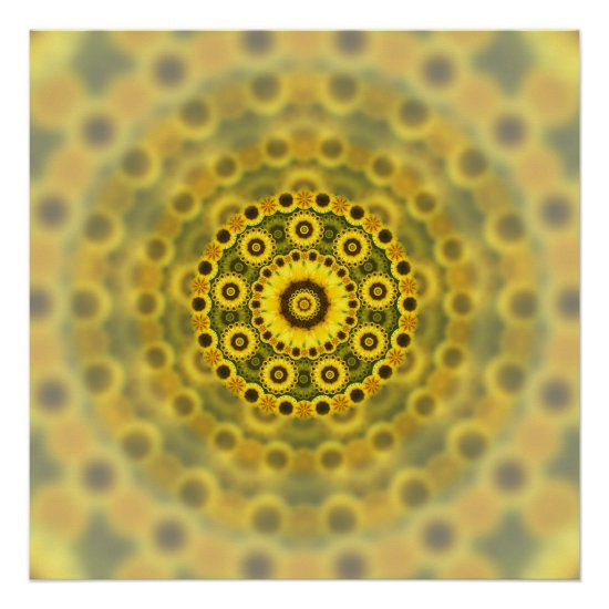 Hippy Sunflower Fractal Mandala Pattern Poster