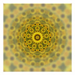 Hippy Sunflower Fractal Mandala Pattern Posters