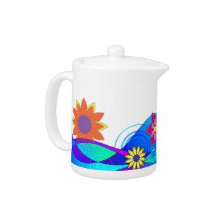 Hippy Trippy Flowers Teapot