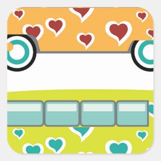 Hippy Van Square Sticker