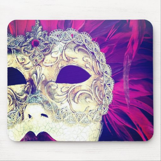 Hipstamatic Venetian Feathers Mask Lady Mouse Pad