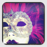 Hipstamatic Venetian Feathers Mask Lady Square Sticker