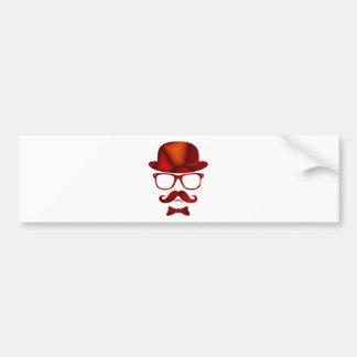 Hipster 1b derby moustache glasses bumper sticker