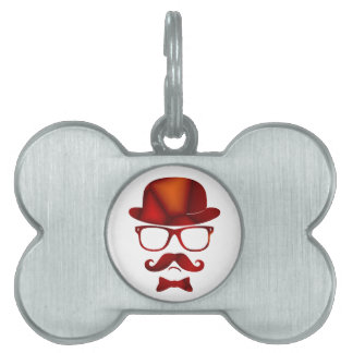 Hipster 1b derby moustache glasses pet name tag