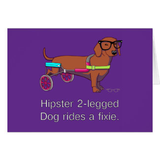Hipster 2-legged Dog Note Card