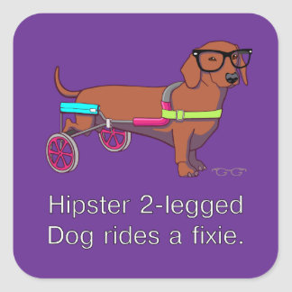 Hipster 2-legged Dog Stickers