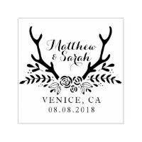 Hipster Antlers Wedding Stamp, Save The Date Self-inking Stamp