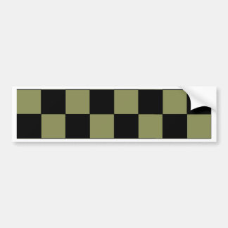 Hipster Army Green Checkerboard Chessboard Bumper Sticker