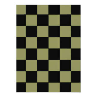 Hipster Army Green Checkerboard Chessboard Card
