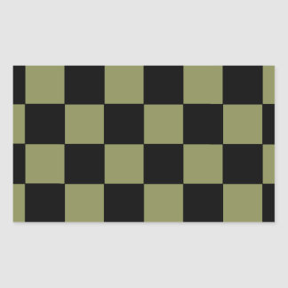 Hipster Army Green Checkerboard Chessboard Rectangular Sticker