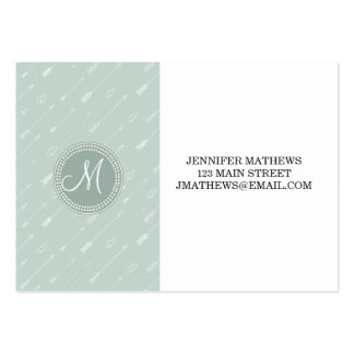 Hipster Arrow Mint Green Monogram Large Business Cards (Pack Of 100)