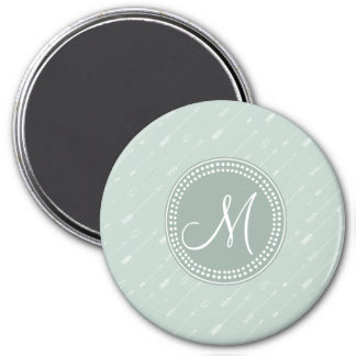 Hipster Arrow Mint Green Monogram Fridge Magnets