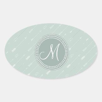 Hipster Arrow Mint Green Monogram Oval Sticker
