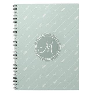 Hipster Arrow Mint Green Monogram Spiral Notebook