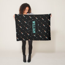 Hipster Arrow Pattern Teal Coral Bear Monogram Fleece Blanket