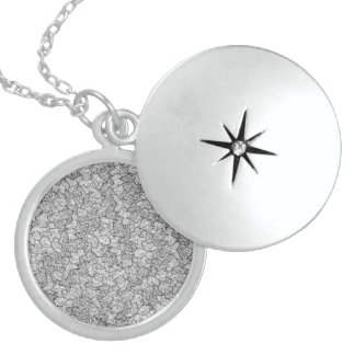 Hipster Artsy Hand Drawn Geometric Linear Pattern Round Locket Necklace
