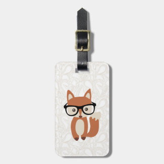 Hipster Baby Fox w/Glasses Bag Tag