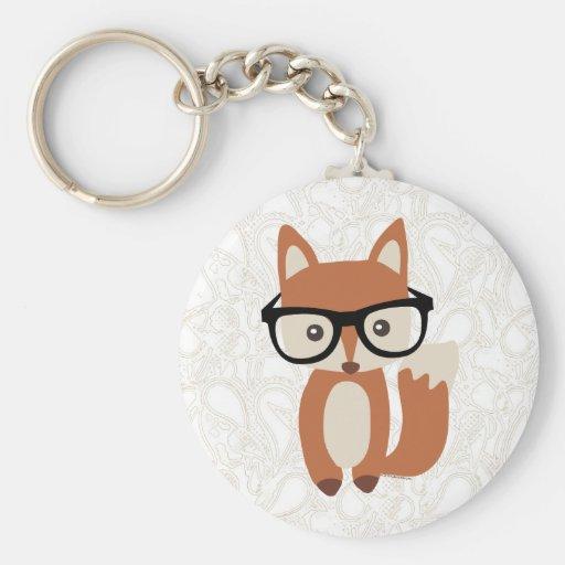 Hipster Baby Fox w/Glasses Basic Round Button Keychain