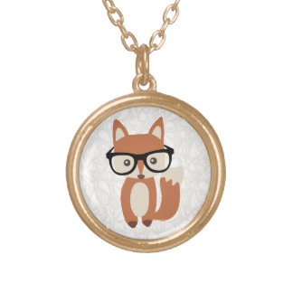 Hipster Baby Fox w/Glasses Gold Plated Necklace