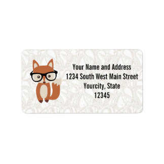 Hipster Baby Fox w/Glasses Labels