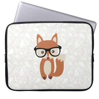 Hipster Baby Fox w/Glasses Computer Sleeve