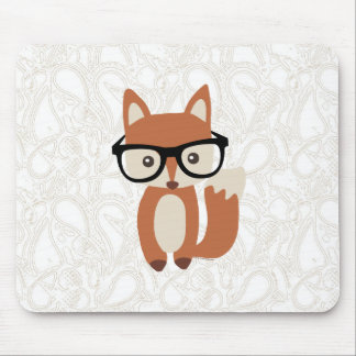 Hipster Baby Fox w/Glasses Mouse Pad