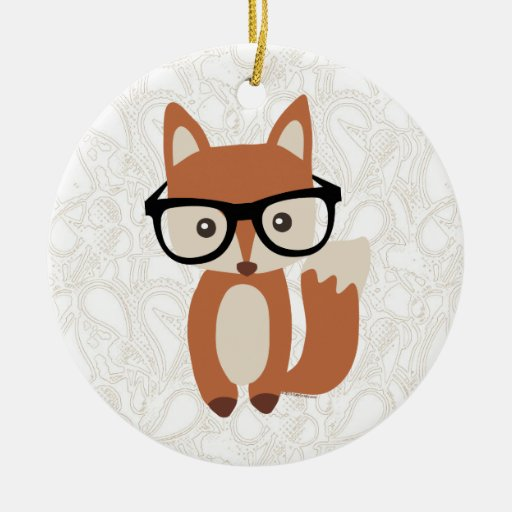 Hipster Baby Fox w/Glasses Christmas Tree Ornament