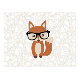 Hipster Baby Fox w/Glasses Postcard