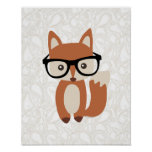 Hipster Baby Fox w/Glasses Posters